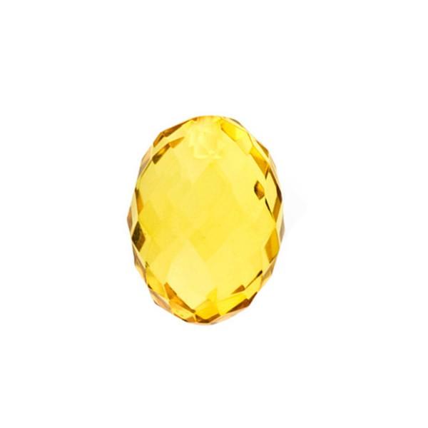 Bernstein (natur), goldfarben, Olive, facettiert, 12 x 9mm