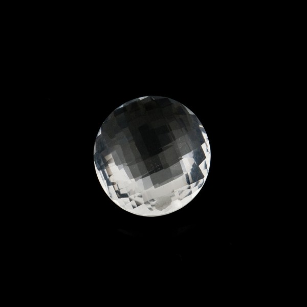 Rock crystal, transparent, colorless, faceted briolette, round, 10 mm