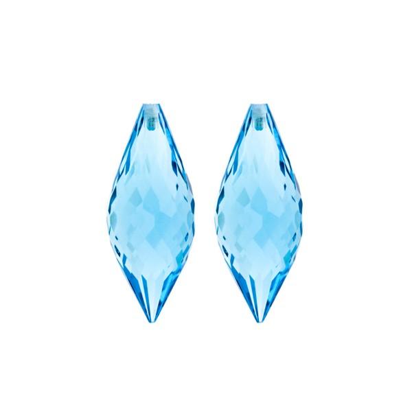 Blue topaz, swiss blue (intense), pointed teardrop, faceted, 26 x 10 mm