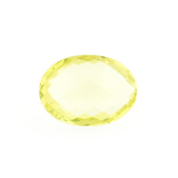 Lemon quartz, lemon, faceted briolette, oval, 14 x 10 mm
