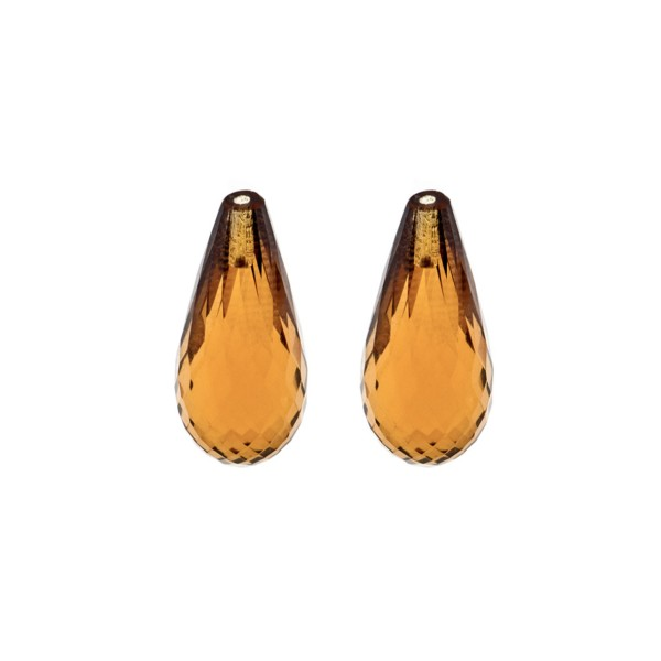 Cognac quartz, cognac-colored, teardrop, faceted, 22 x 10 mm