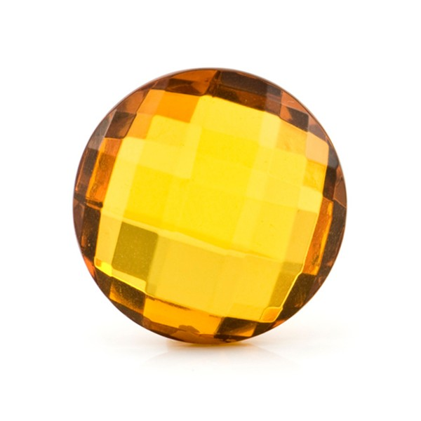 Natural amber, cognac-colored, briolette, round, 25 mm