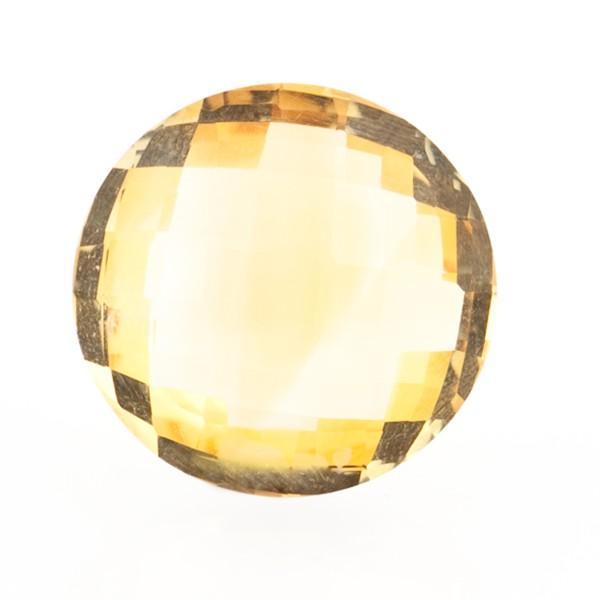 Citrine, golden color, faceted briolette, round, 18 mm