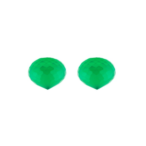 Jade (dyed), green, teardrop, faceted, onion shape, 13 x 11 mm