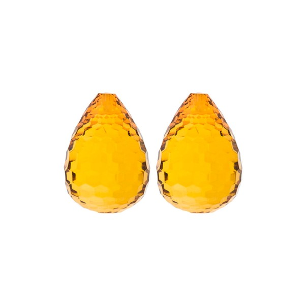 Natural amber, cognac-colored, teardrop, concave, 17 x 13 mm