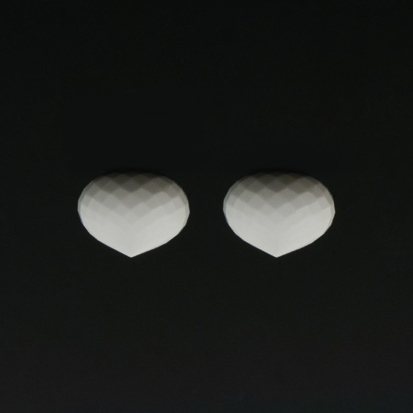 Cacholong, white, faceted teardrop, onion shape, 13 x 11 mm