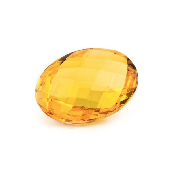 Bernstein (natur), goldfarben, Briolett, facettiert, oval, 16x12mm