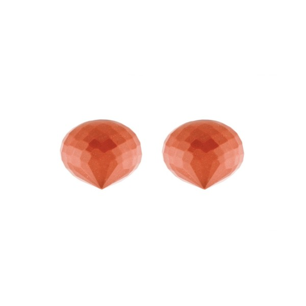 Coral, reconstructed, orange, teardrop, faceted, onion shape, 13 x 11 mm