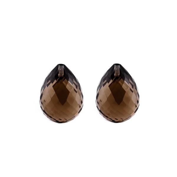Smoky quartz, dark brown, teardrop, faceted, 17 x 13 mm