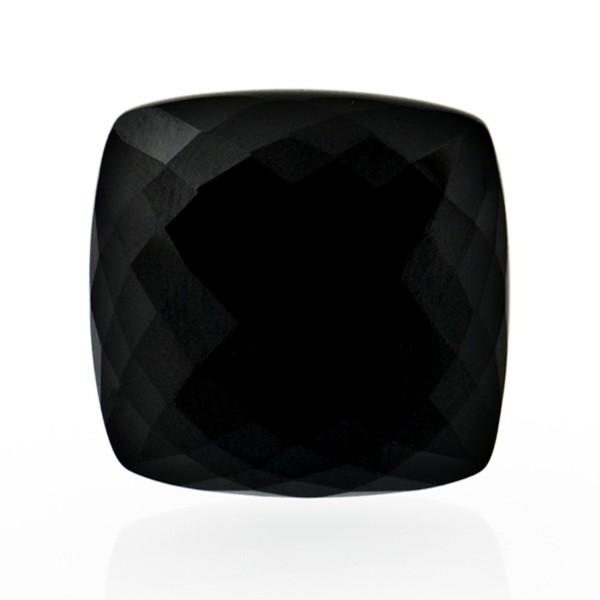 Onyx, schwarz, Briolett, facettiert, antik, 18x18mm