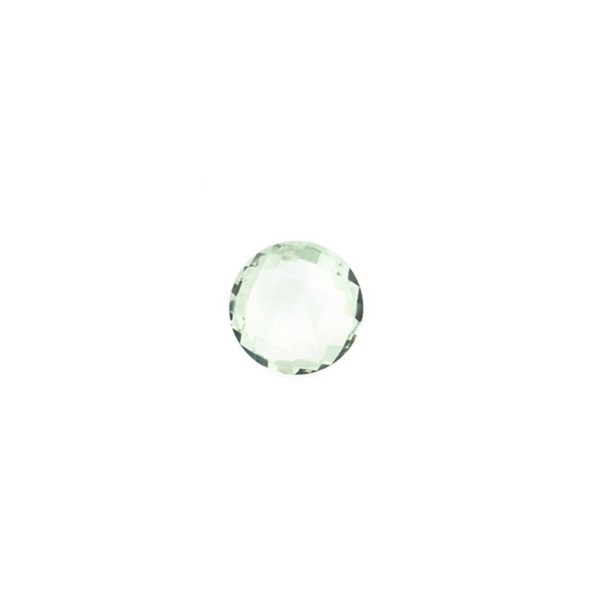 Prasiolite (green amethyst), green, faceted briolette, round, 6 mm
