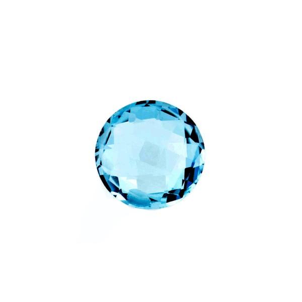 Blue topaz, london blue, faceted briolette, round, 10 mm
