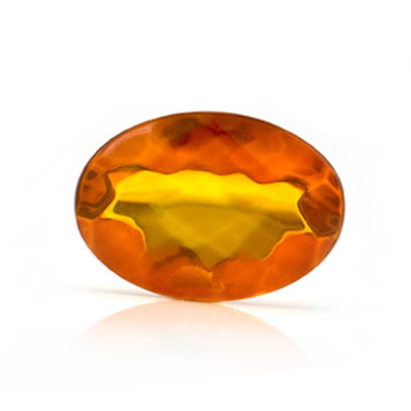Natural amber, cognac-colored, faceted, diagonal chessboard pattern, oval, 20 x 15 mm