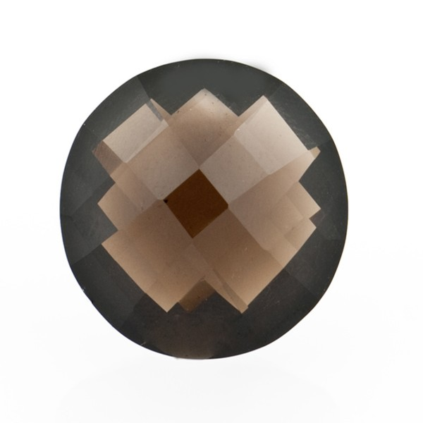 Smoky quartz, dark brown, faceted briolette, round, 16 mm