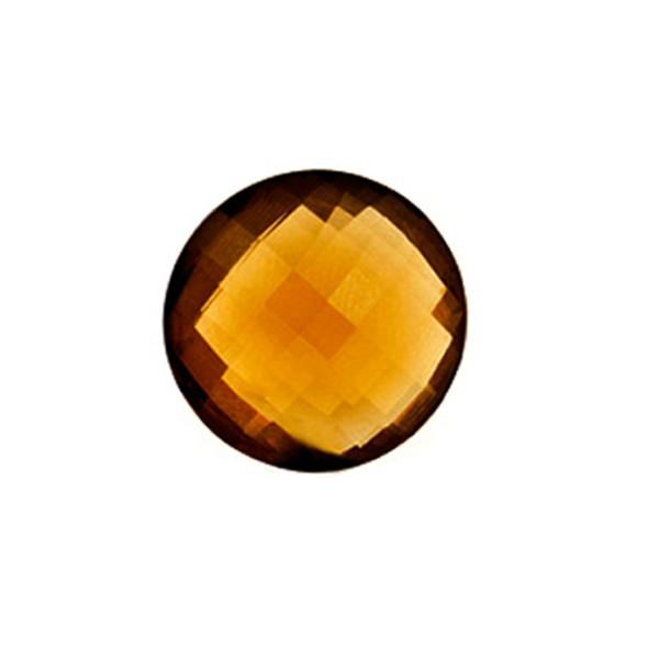 Cognac quartz, cognac-colored, faceted briolette, round, 12 mm