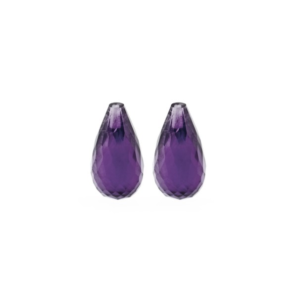 Amethyst (Africa), dark violet, faceted teardrop, 15 x 8 mm