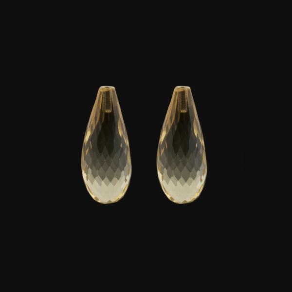 Citrine, light golden color, teardrop, faceted, 22 x 10 mm