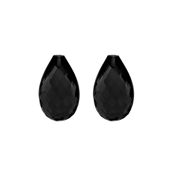 Jade, schwarz, Pampel, facettiert, Harlekin, 18x11mm