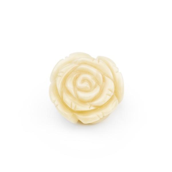 Natural amber, honey-colored, carved rose flower, five-petalled, Ø 20-22 mm