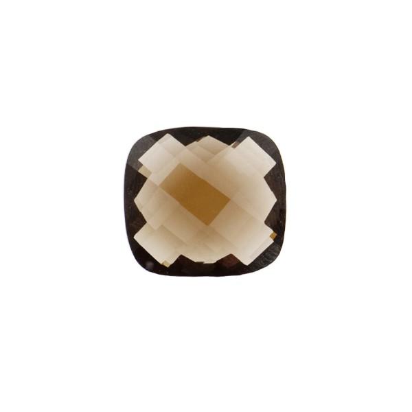 Smoky quartz, light brown, faceted briolette, antique shape, 10 x 10 mm