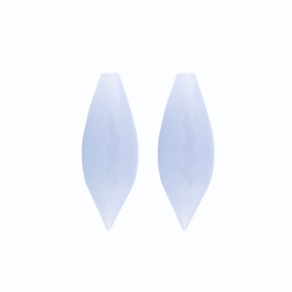 Natural chalcedony, medium blue, pointed teardrop, faceted, 26 x 10 mm