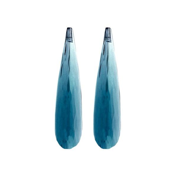 Blautopas, London Blue, dunkelblau, Pampel, facettiert, 35x8 mm