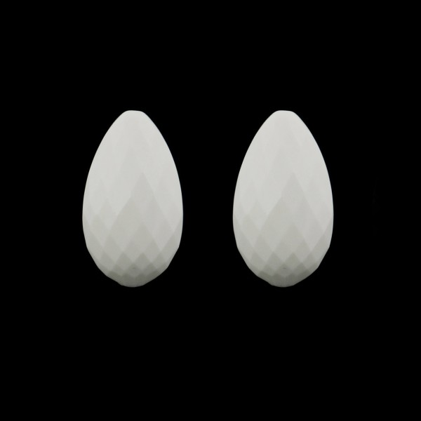 Cacholong, white, faceted teardrop (harlequine), 22x14mm