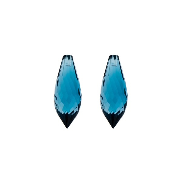 Blue topaz, london blue, pointed teardrop, faceted, 20 x 8 mm