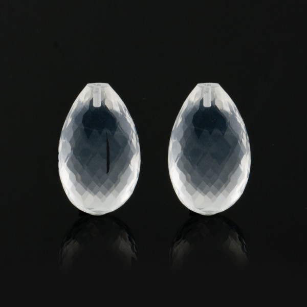 Rock crystal, transparent, colorless, faceted teardrop (harlequine), 22 x 14 x 8.5 mm
