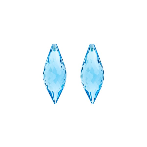 Blue topaz, swiss blue (intense), pointed teardrop, faceted, 20 x 8 mm