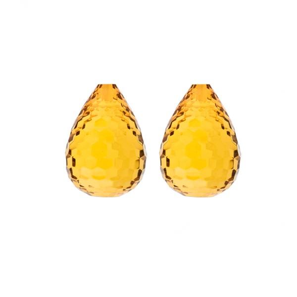 Natural amber, golden, teardrop, concave, 17 x 13 mm