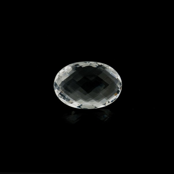 Rock crystal, transparent, colorless, faceted briolette, oval, 10 x 8 mm