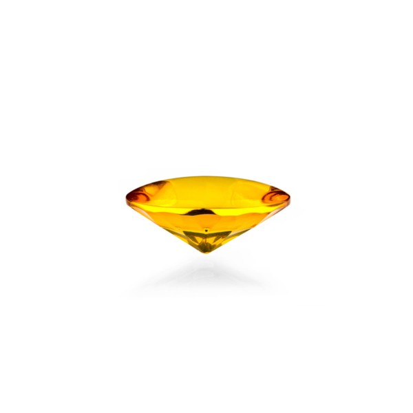 Natural amber, golden, buff top, concave, round, 12 mm