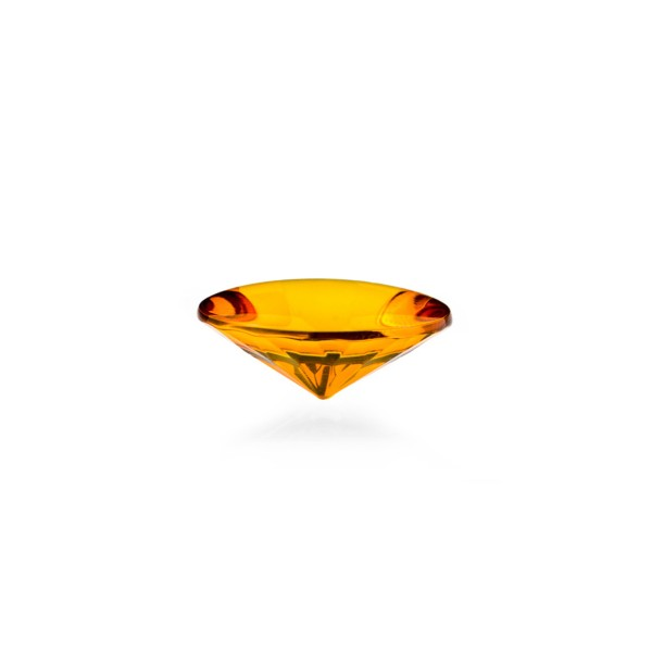Natural amber, cognac-colored, buff top, concave, round, 12 mm