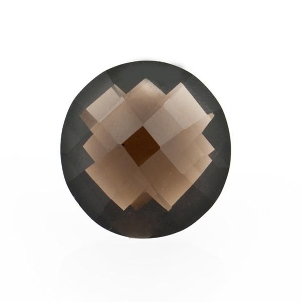 Smoky quartz, dark brown, faceted briolette, round, 14 mm