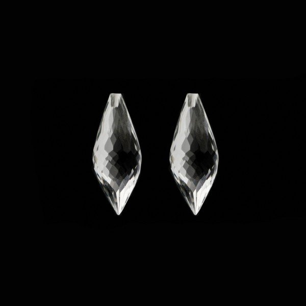 Rock crystal, transparent, colorless, pointed teardrop, faceted, 20 x 8 mm