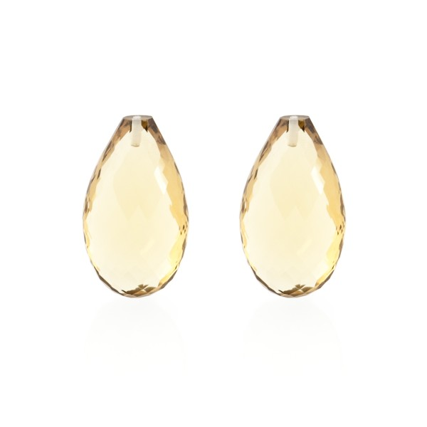 Champagne quartz, champagne, faceted teardrop (harlequine), 22x14mm