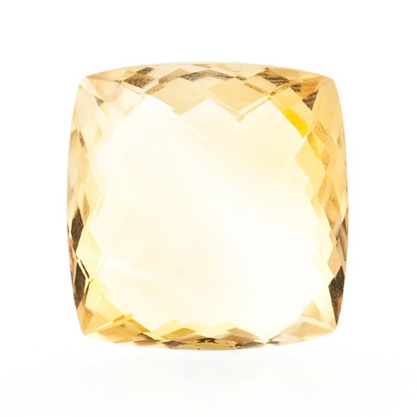Citrine, light golden color, faceted briolette, antique shape, 18 x 18 mm