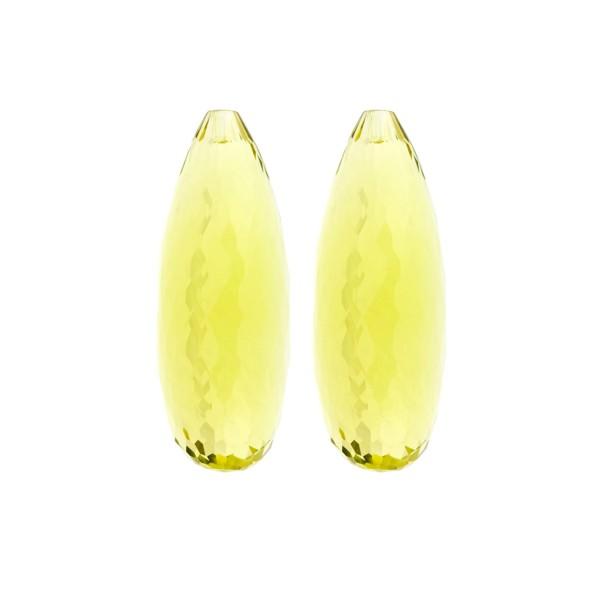 Lemonquarz, lemon, intensiv, Pampel, facettiert, Harlekin, 30x12mm