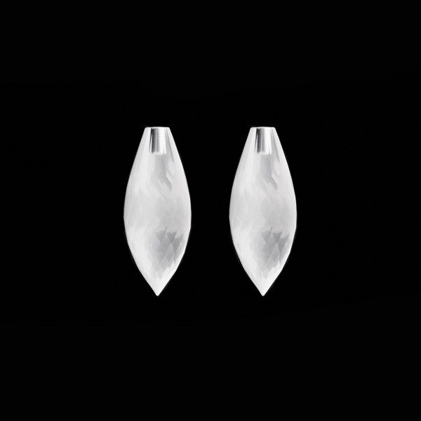 Milky quartz, white, pointed teardrop, faceted, 20 x 8 mm