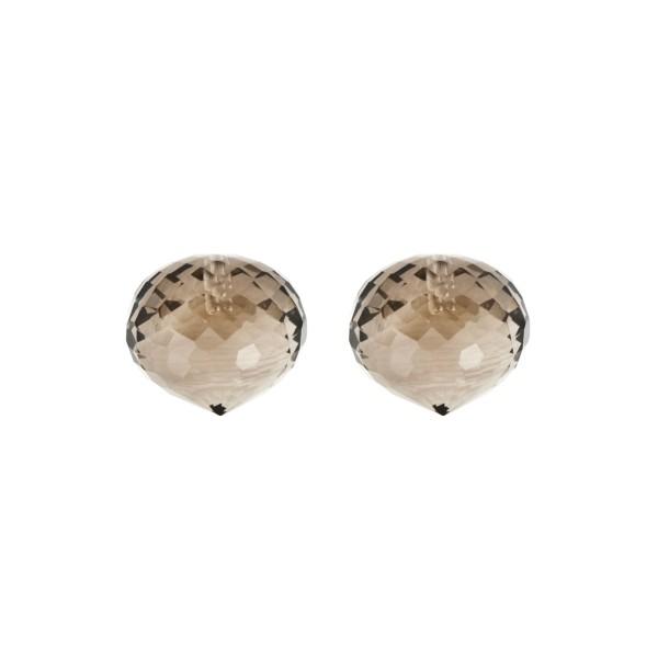 Smoky quartz, medium brown, faceted teardrop, onion shape, 13 x 11 mm