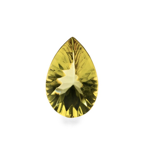 Bernstein (natur), grün, Buff Top, concave, Birnenform, 14x10 mm