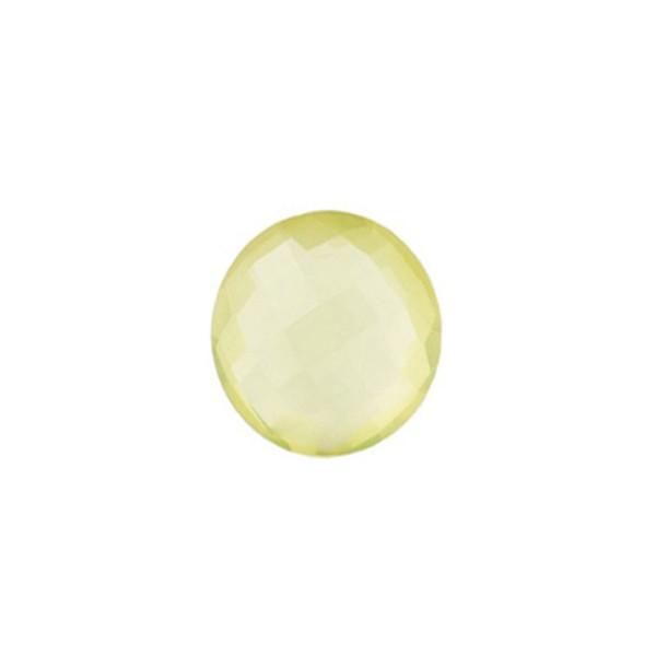 Lemon quartz, lemon, faceted briolette, round, 10 mm