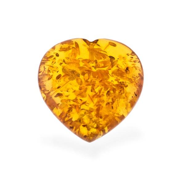 Bernstein (natur), goldfarben, Herz, Linse, glatt, 23x23x8 mm