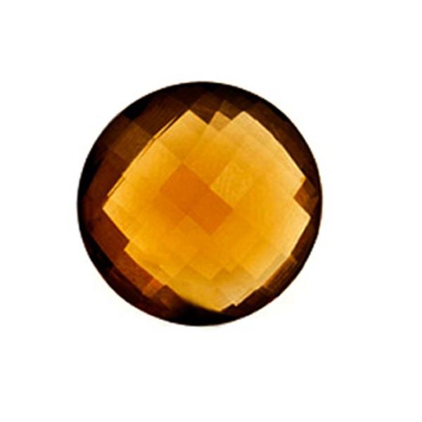 Cognac quartz, cognac-colored, faceted briolette, round, 14 mm