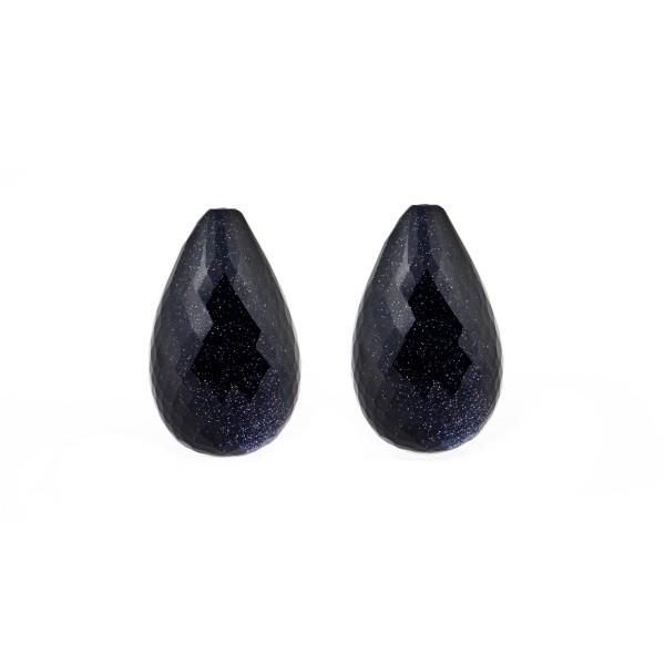 Goldstone blue, blue, faceted teardrop (harlequine), 18x11mm