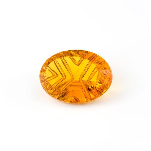 Natural amber, golden, buff top, fancy faceted, grooved, oval, 20 x 15 mm