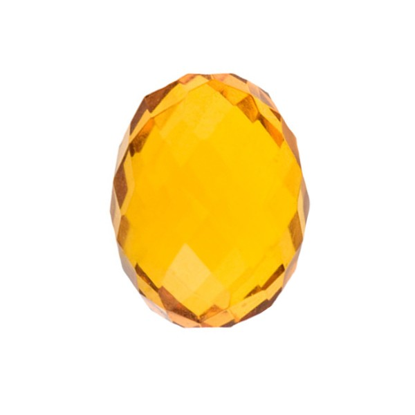 Natural amber, cognac-colored, olive shape, faceted, 14 x 11 mm
