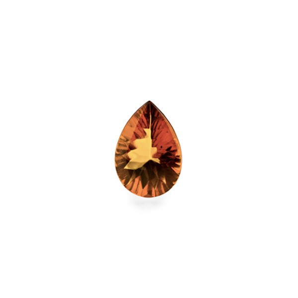Natural amber, cognac-colored, buff top, concave, pear shape, 8 x 6 mm