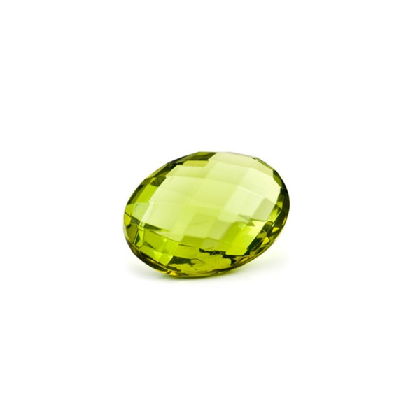 Natural amber, green, briolette, oval, 12 x 10 mm